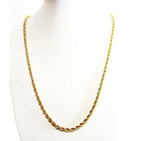 """שרשרת מיקרון זהב במראה צמה אורך 60 ס""""מ עובי 6 מ""""מ UNISEX STYLE"""