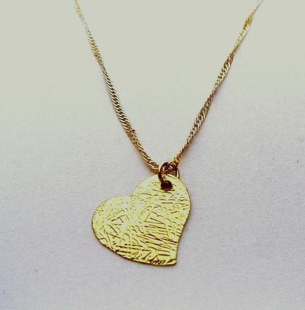 תליון לב מיקרון זהב במראה מיוחד + שרשרת מיקרון זהב איכותית