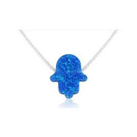 תליון חמסה אבן אופל כחול כהה בשילוב שרשרת כסף 925