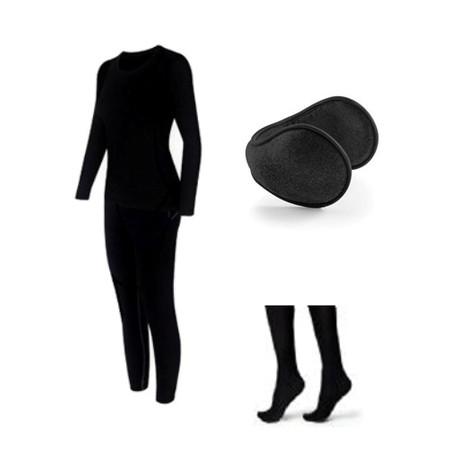 סט ביגוד תרמי משובח לאישה+2 זוגות גרביים תרמיות+מחמם אוזניים