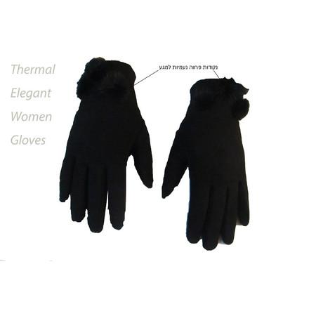 זוג כפפות טרמיות  אלגנטיות לנשים - שילוב נקודות פרווה מותאם למגע במסארטפון