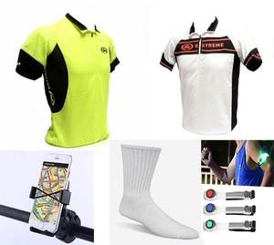 חולצת רכיבה מקצועית+ 3 זוגות גרבי ספורט + מעמד סמארטפון + צמיד תאורת לד לביטחון בלילה