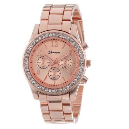 שעון מרשים ואופנתי לאישה זירקונים במראה ROSE GOLD