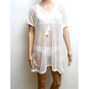 שמלת טוניקה לחוף הים והבריכה למראה מיוחד - למגע גוף נעים צבעים : לבן / שחור