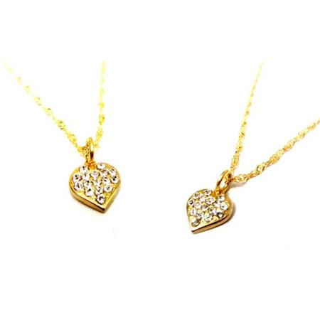 תליון לב קלאסי 2 מיקרון זהב בשיבוץ זירקונים במראה יהלומים+שרשרת איכותית 2 מיקרון זהב