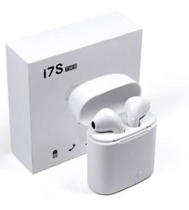 זוג אוזניות אלחוטיות i7S-TWS עם מתקן טעינה - טכנולוגיית בלוטוס