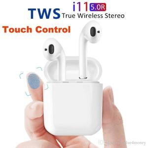 זוג אוזניות אלחוטיות i11  דגם מיני טאץ' מתקדם 5.0 עם מתקן טעינה - True Wireless Headset