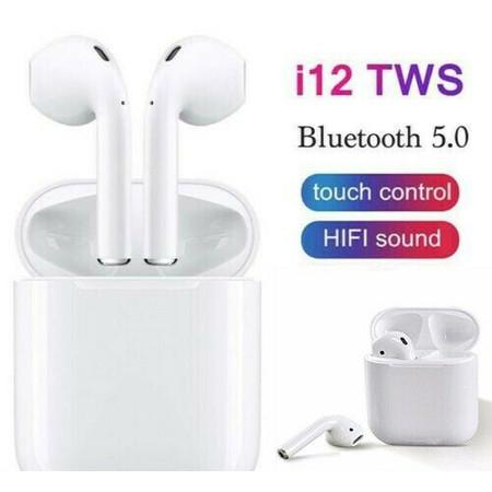 אוזניות אלחוטיות i12  דגם טאץ' מתקדם 5.0 עם מתקן טעינה - True Wireless Headset