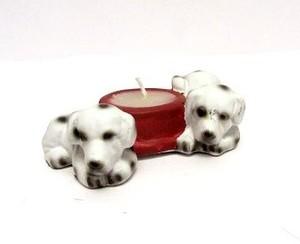 מעמד לנר קטן בצורת כלבים דלמטיים