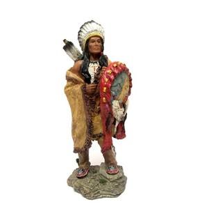 פסלון מרשים בדמות אינדיאני - עשוי פימו