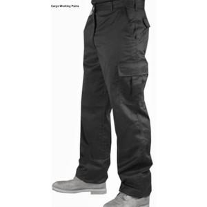 """מכנס דגמ""""ח מכותנה לעבודה עם חצי גומי אחורי"""