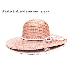 כובע רחב שוליים אופנתי לאישה - עם חבל מסביב למראה מיוחד