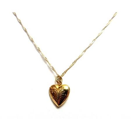 תליון לב קטן ונפתח במראה מיוחד עם חריטות + שרשרת איכותית