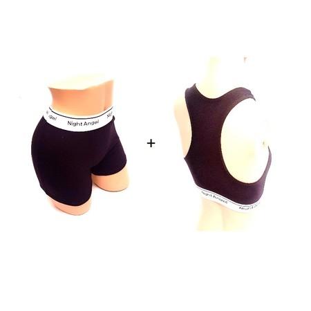 מכנסון בוקסר קצר + חזיית ספורט לאישה במרקם בד איכותי