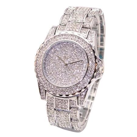 """שעון אופנתי וקלאסי לאישה למראה יוקרתי שילוב זירקונים ע""""ג השעון והרצועה למראה מרשים"""