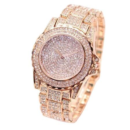 """שעון אופנתי וקלאסי לאישה למראה יוקרתי שילוב זירקונים ע""""ג השעון והרצועה - מתאים ליד גדולה"""