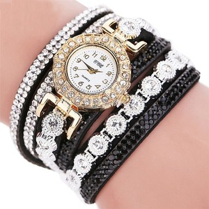 שעון לנערה / אישה שילוב זירקונים וקריסטלים רצועה ארוכה סביב היד
