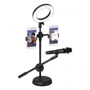 מעמד / סטנד גדול ל 2 סמארטפונים + עמדה למיקרופון + טבעת תאורת  לד לשידורי לייב / הרצאות / מוזיקה...