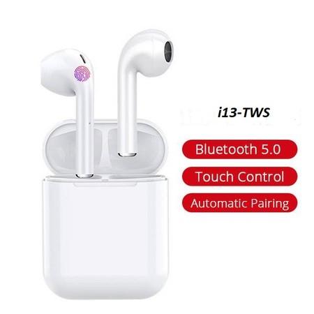 אוזניות אלחוטיות TWS-i13 דגם טאץ' מתקדם 5.0 עם מתקן טעינה