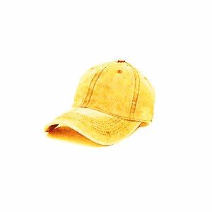 כובע מצחיה אופנתי 100% כותנה לנדוף זיעה - דגם חלק צהוב חרדל / חום  UNISEX