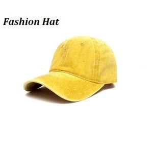 כובע מצחיה אופנתי כותנה מנדפת זיעה- דגם חלק צהוב חרדל / חום  UNISEX