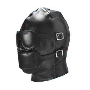 מסכת פטיש שחורה לכיסוי ראש ועיניים עם גאג מדמוי עור