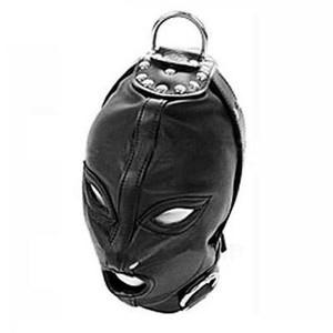 מסכת פטיש שחורה דמוי עור לכיסוי ראש עם קודקוד תלייה