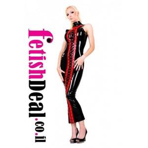 שמלה שחורה ארוכה עם שרוכים אדומים