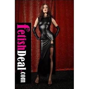 שמלת ערב שחורה ארוכה וסקסית