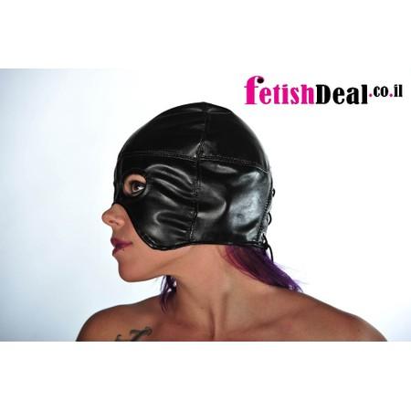 מסיכת חצי פנים נוחה במיוחד עם מפתח פה - עור אמיתי או דמוי