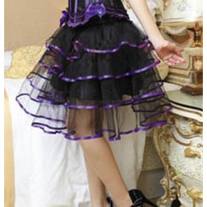 חצאית אלטרנטיבית ומיוחדת עם פסים סגולים - 4 מידות