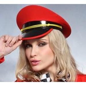 כובע קסקט סקסי בצבע אדום עם פס צהוב מתאים למגוון מידות