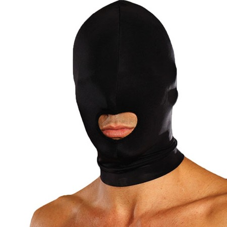 מסיכת ספנדקס שחורה עם מפתח פה בלבד לחווית אובדן שליטה על החושים והעצמת משחקי התפקידים