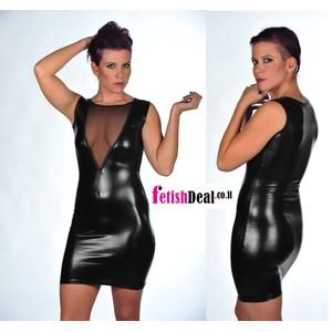 Roxet שמלה קינקית מלייקרה שחורה מבריקה עם מחשוף רשת קדמי