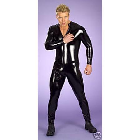 חליפת לייקרה קינקית לגבר שחור מבריק בד אלסטי
