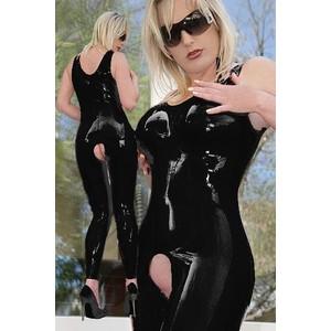 אוברול שחור ללא שרוולים סקסי ומבריק עם פתח מפשעה