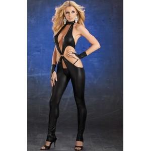 בגד גוף שחור וחושפני עם שתי מיני כפפות אצבע