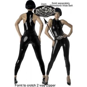 בגד ספנדקס שחור מבריק ללא שרוולים