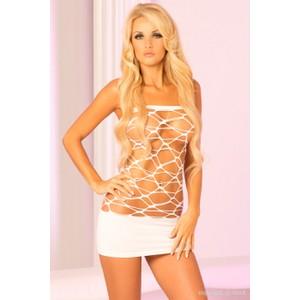 שמלת רשת סטרפלס לבנה סקסית במיוחד Pink Lipstick