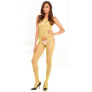 גרביון רשת לגוף צהוב עם פתח קדמי ואחורי Rene Rofe