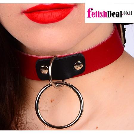 קולר עור עם טבעת לרצועה בצבע אדום שחור