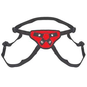 סטרפאון עור אדום עם רצועות לרגליים