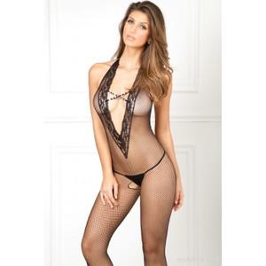 גרביון גוף רשת סקסי לגוף שחור עם מחשוף יוקרתי ופתח מפשעה Rene Rofe
