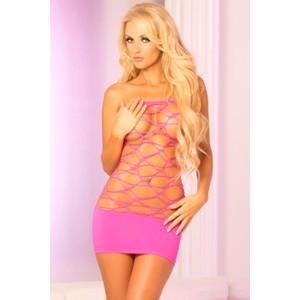 שמלת רשת סטרפלס ורודה סקסית במיוחד Pink Lipstick