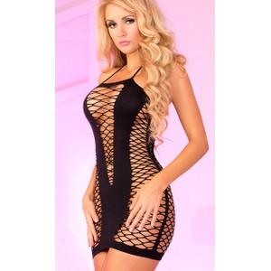 שמלת רשת שחורה עם מחשוף קדמי סקסי - מידות גדולות