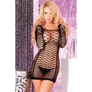 שמלת רשת שחורה חושפנית וסקסית במיוחד עם שרוולים ארוכים Pink Lipstick