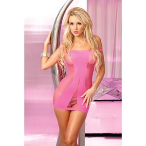 שמלת סטרפלס רשת ורודה עם מחשוף תחתון Pink Lipstick