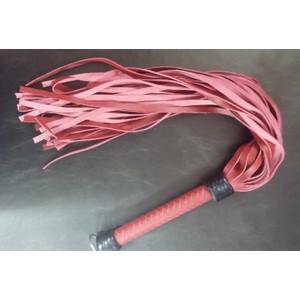שוט מעור אדום עם אלמנטים שחורים 36 זנבות אורך 76 סמ