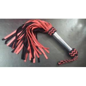פלוגר מזמש שחור אדום עם ידית מתכת 36 זנבות אורך 60 סמ
