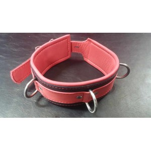 קולר מקצועי עבה מעור אדום שחור איכותי עם 3 לולאות מתכת
